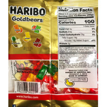 Haribo Gold Bears Gummies in Bag (Nutrition Facts)