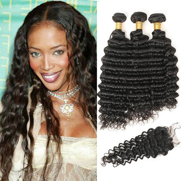 3 Bundles & Closure Wavy Virgin Brazilian Hair