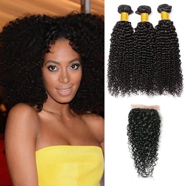 3 Bundles & Closure Kinky Curly Virgin Brazilian Hair