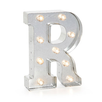 Darice Silver Metal Marquee Letter R