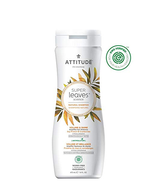 ATTITUDE Super Leaves Natural Volume Shampoo for Fine, Thin Hair: EWG VERIFIED & Hypoallergenic, Volume Rich Formula - 16oz
