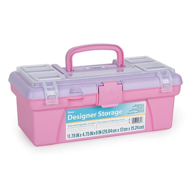 "Vanity Plastic Storage Box, Pink/Blue - 12"""