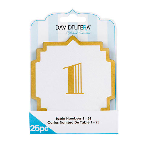 David Tutera Art Deco Table Numbers, Cream/Gold - 25 pcs
