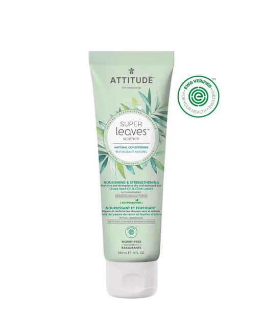 Attitude Natural Conditioner for Dry, Damaged Hair: EWG Verified, Hypoallergenic & Dermatologist Tested - 8 oz