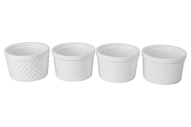 "Set of 4 Textured Ramekins, 4.5"" x 4.5"" - 12 oz"