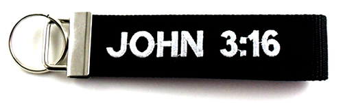 John 3:16 Embroidered Biker Key Fob