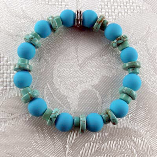 Turquoise Rubberized Glass/Turquoise Spacers Stretch Bracelet