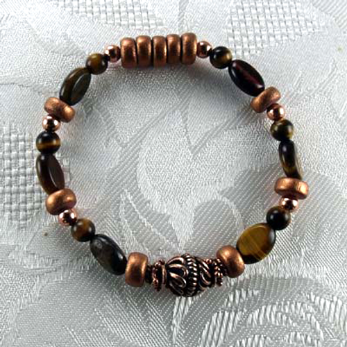Tiger Eye Gemstones/Copper Stretch Bracelet