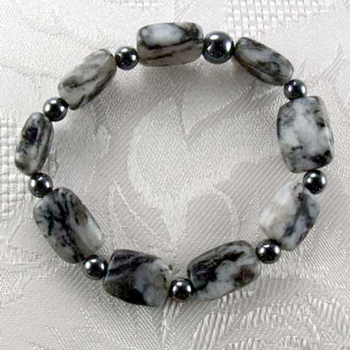 Natural Black Spotted Quartz/Hematite Stretch Bracelet