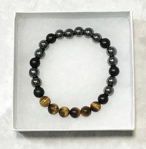 Tiger's Eye/Hematite/Onyx Chakra Stretch Bracelet-Free Gift Box!