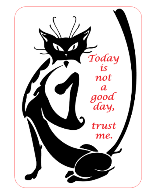 Today Is Not A Good Day Vinyl Sticker - Black Cat Attitude