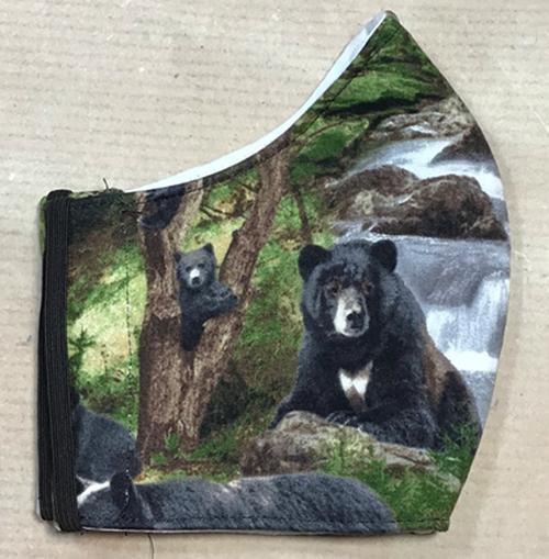 Men's Wild Bear Design 100% Cotton Face Mask Right Face