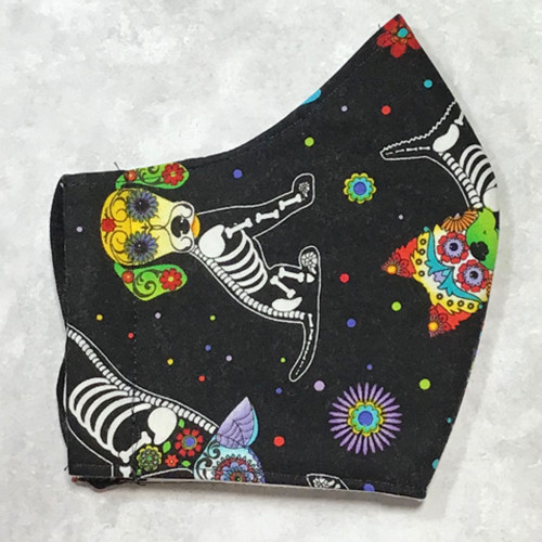 Women/Teen Size- Day of the Dead Dog Design Unisex 100% Cotton Face Mask