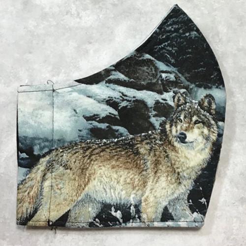Wild Wolf Design Men's Size 100% Cotton Face Mask