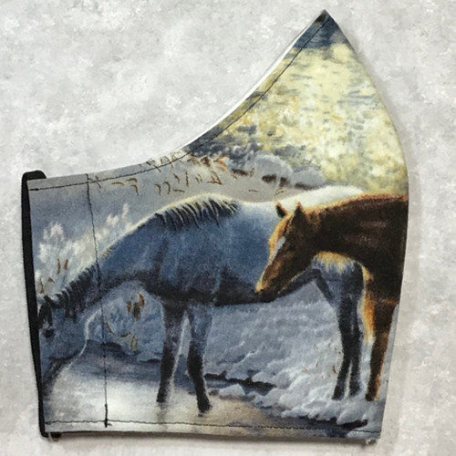 Wild Horses (2) Design 100% Cotton Face Mask side view