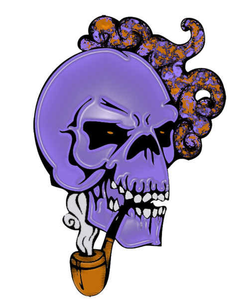 Sugar Skull Smoking Pipe Vinyl Sticker