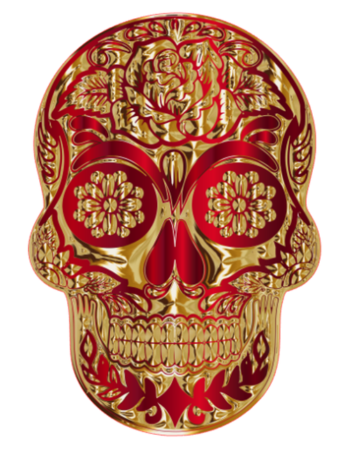 Red/Gold Sugar Skull Vinyl Sticker