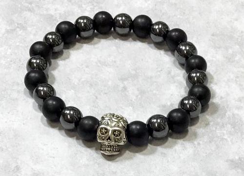 Skull Hematite/Black Onyx Stretch Bracelet-Free Gift Box!