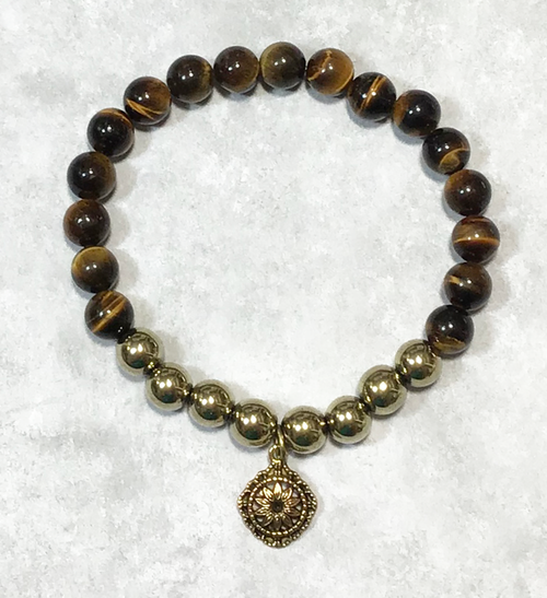 Tiger's Eye/Gold Hematite Chakra Stretch Bracelet-Free Gift Box!