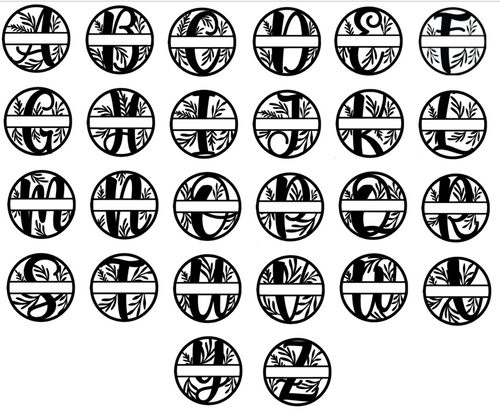 Floral Split Monogram  Vinyl Decal Letters