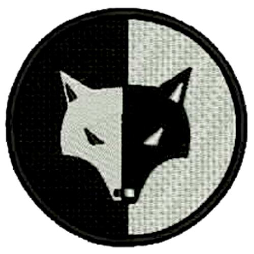 Black/White Wolf Symbol Embroidered Patch