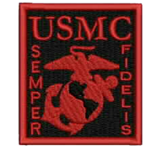USMC Red/Black Embroidered Patch