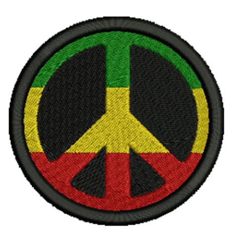 Rasta Peace Sign Embroidered Patch