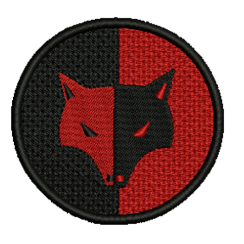 Red/Black Wolf Symbol Embroidered Patch