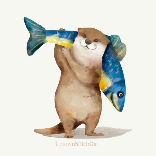 Beaver Holding Fish Kids Room Digital Art Download