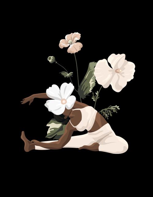 Black Woman Yoga Pose Wall Art Digital Download