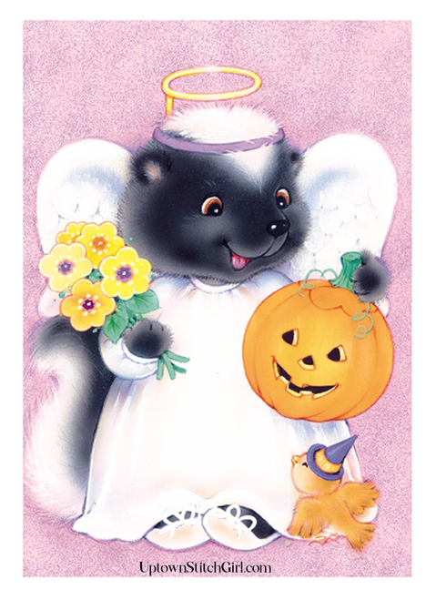 Angel Skunk Kid Friendly Halloween Digital Wall Art Download