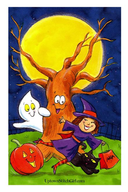 Girl Witch Kid Friendly Halloween Digital Wall Art Download