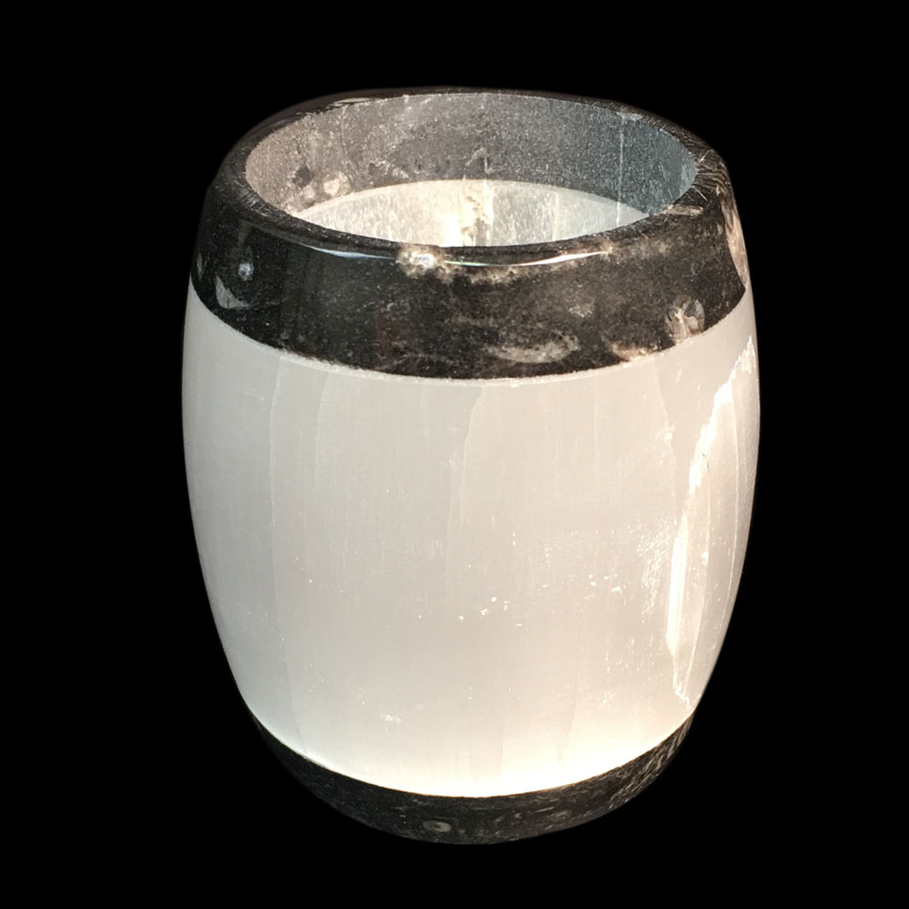 Selenite Fossil Candle holder - Sm