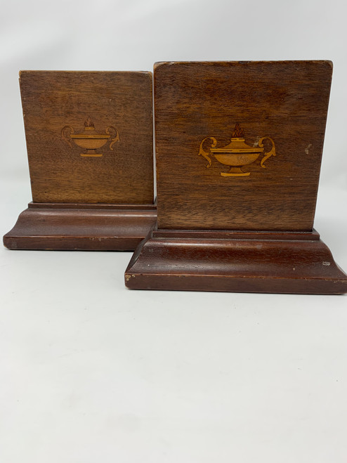 Bookends Vintage Wooden With Inlay Urns