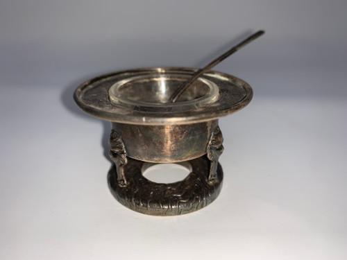 Japanese Pure Silver Lion Head Salt - Antique Meiji