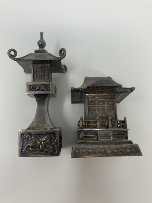 Japanese Pure Silver Pagoda & Temple Salt and Pepper Shakers- Antique