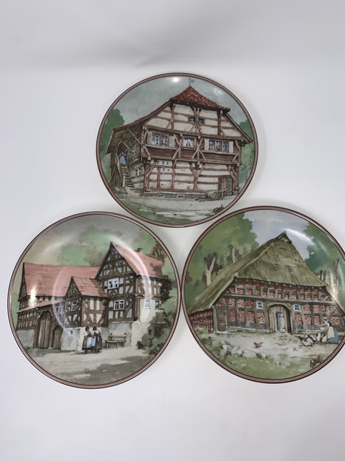 3 German Plates Depicting Antique Timber Houses