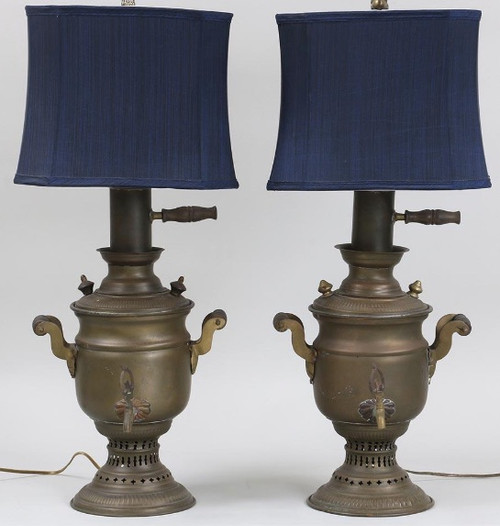 Vintage Pair of Samovar Lamps with Blue Shades