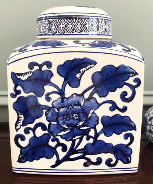 Blue and White Chinese Style Square Jar With Lid