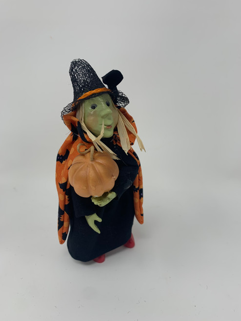 "Byers Choice Kindelkin Hazel the Little Witch- 6"" Tall and Posable For Halloween"