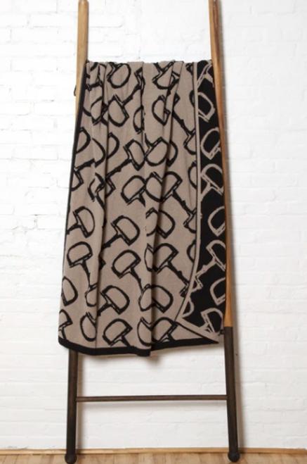 "Throw In2Green Luxury Recycled Blanket ""Eco Bits"" Pattern in Hemp/Black*"