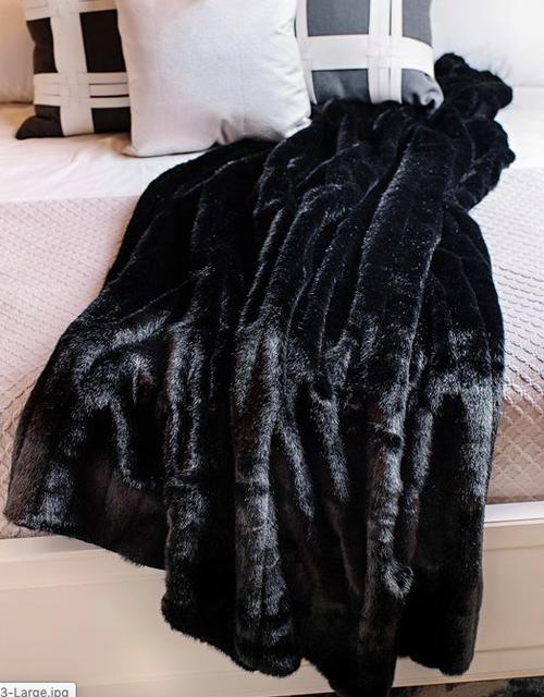 Throw Fabulous Faux Furs- Black Mink*