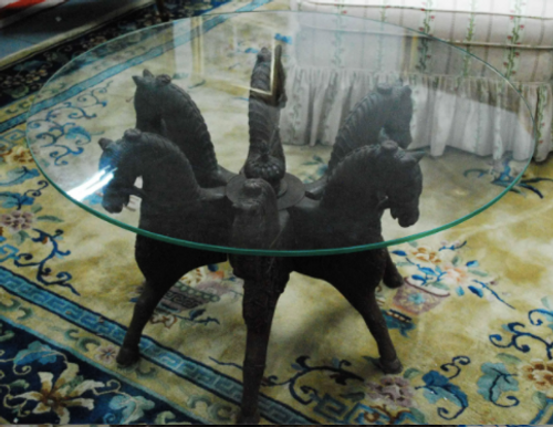 6 Horse Equestrian Glass Topped Table