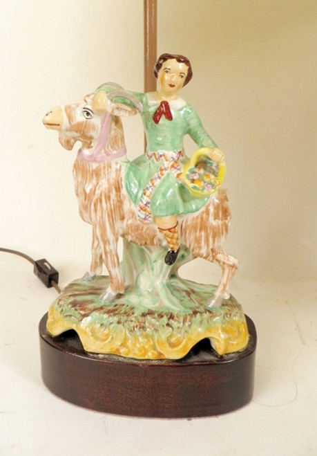 Staffordshire Lamps of Boy and a GIrl