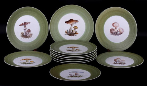 Mushroom Plates- Very Pretty Hand Painted- Classic Imagery- Very Alice in Wonderland! - Priced Each