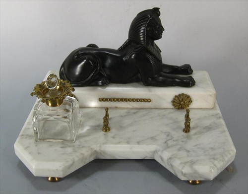 A Marble Ink Stand with Bronze Sphinx