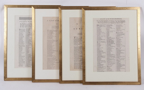George III List of Subscribers- 4 Framed Pages- Priced Each