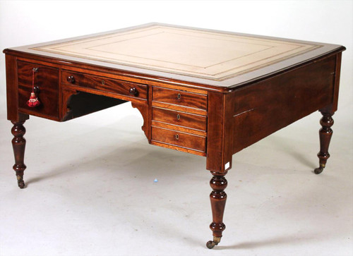 A GORGEOUS Regency Late 18th Century Period Partners Desk- 10 Drawers 10 Different Keys!