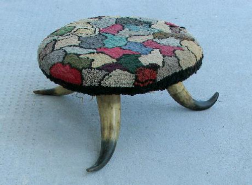 American Horn Footstool with Original Hooked Upholstery