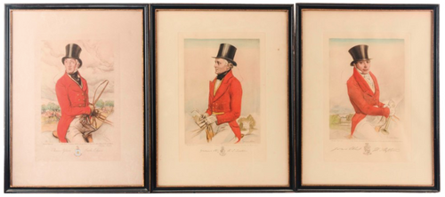 A Set of 3 Equestrian Gentlemen By Gordon Ross     Priced Each